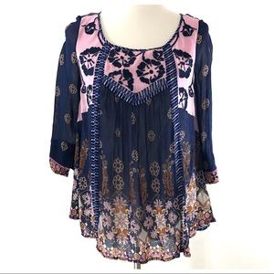 Floreat Anthropologie Blue Mixed Print Navy Blouse